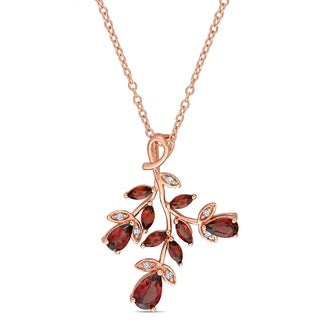 Laura Ashley Garnet and Diamond Multi-Branch Necklace in Rose Plated Sterling Silver