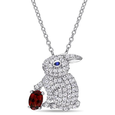 Laura Ashley Garnet Created White and Blue Sapphire Easter Bunny Necklace in Sterling Silver