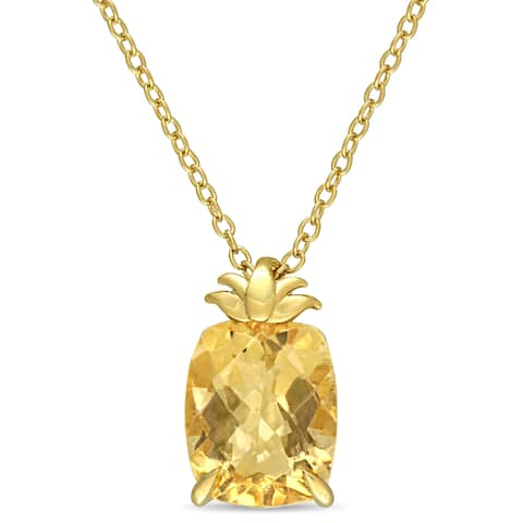 Laura Ashley Citrine Pineapple Solitaire Necklace in Yellow Plated Sterling Silver