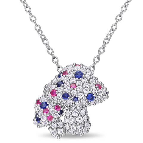 Laura Ashley Created White Blue Sapphire and Created Ruby Clustered Mushrooms Necklace in Silver