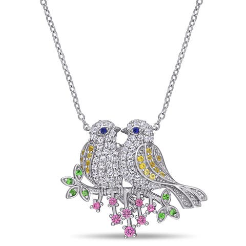 Laura Ashley Multi-Colored Created Sapphire Tsavorite Budgie Birds on a Branch Necklace in Sterling Silver