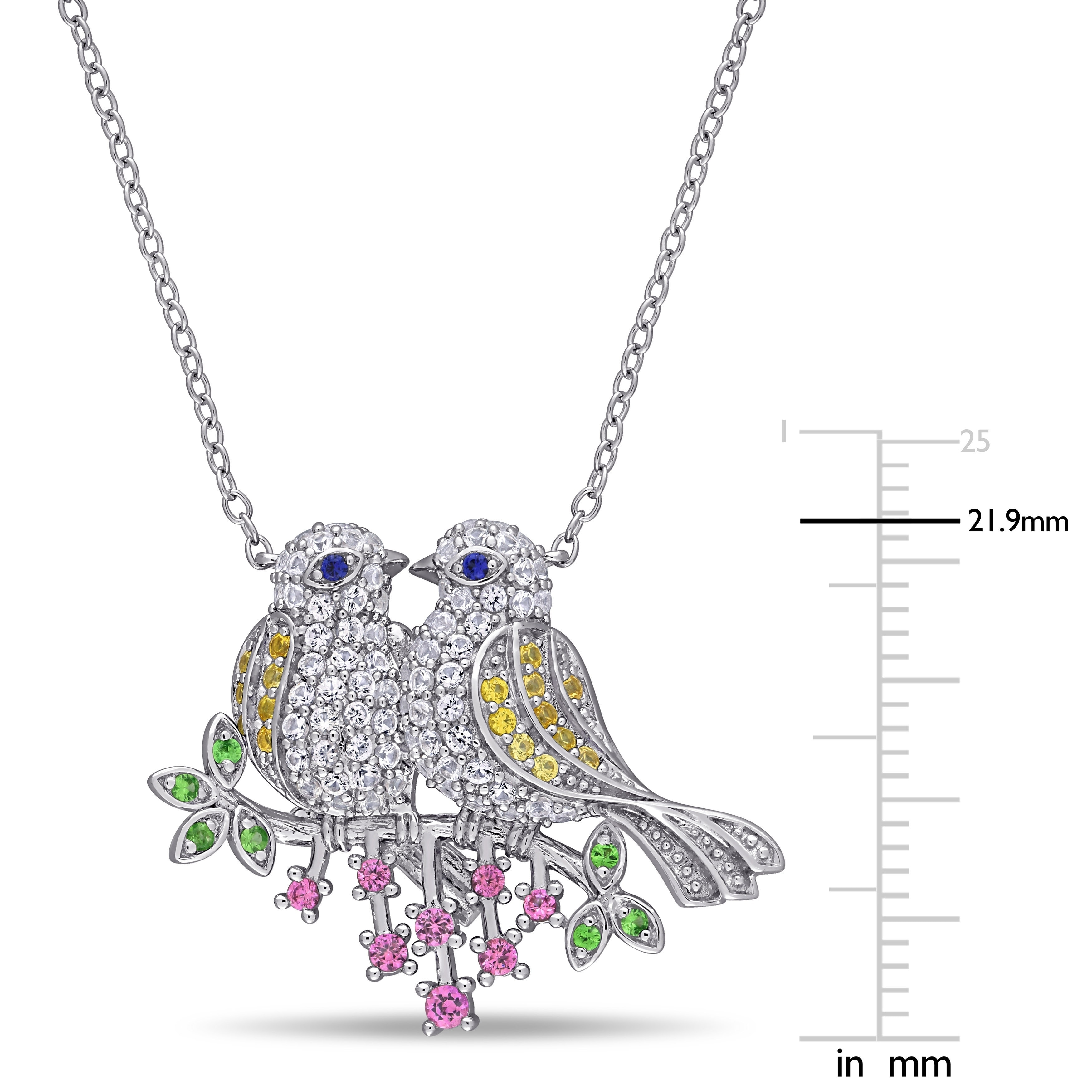 1793bfe02 Shop Laura Ashley Multi-Colored Created Sapphire Tsavorite Budgie Birds on  a Branch Necklace in Sterling Silver - On Sale - Free Shipping Today -  Overstock ...