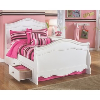 Exquisite White Youth Sleigh Bed w/ Storage