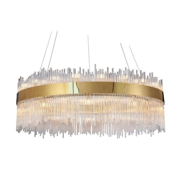 Gold Stainless Steel Chandelier with Clear Glass Rods. Opens flyout.