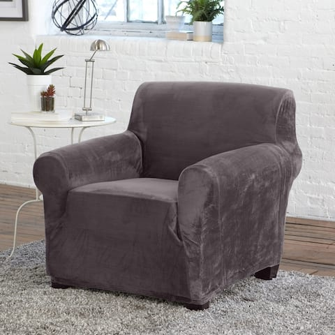 Camellia Collection Velvet Plush Form Fit Stretch Chair Slipcover
