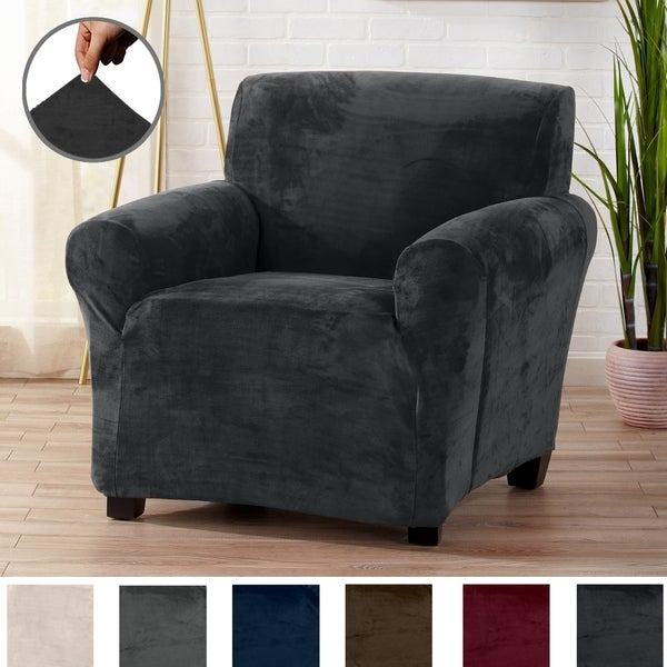 Camellia Collection Velvet Plush Form Fit Stretch Chair Slipcover. Opens flyout.