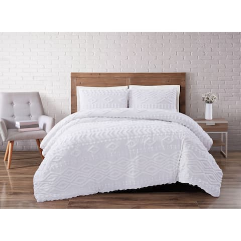 The Curated Nomad Barbary Tufted Chenille 3-piece Duvet Cover Set