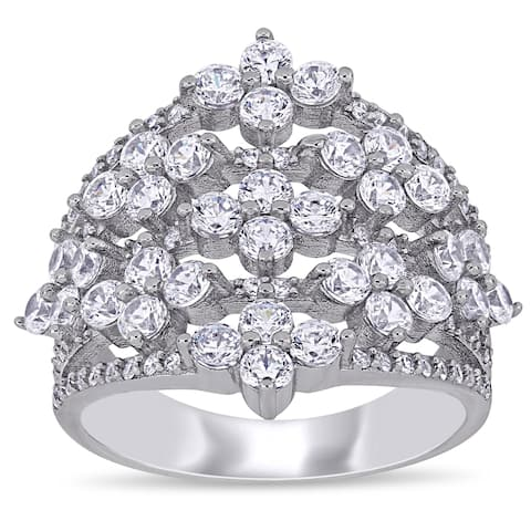 Miadora Sterling Silver Cubic Zirconia Floral Cluster Anniversary Band