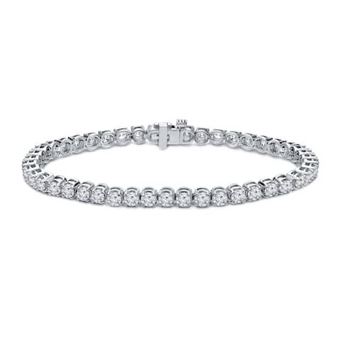 Ethical Sparkle 4ctw Lab Created Round Diamond Tennis Bracelet 14k White Gold - 7 Inch
