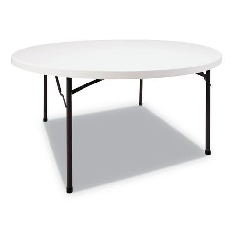 Alera Round Plastic Folding Table, 60 Dia x 29h, White