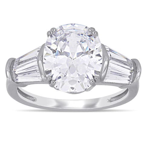 Miadora Sterling Silver Oval and Tapered Baguette-Cut Cubic Zirconia 5-Stone Engagement Ring