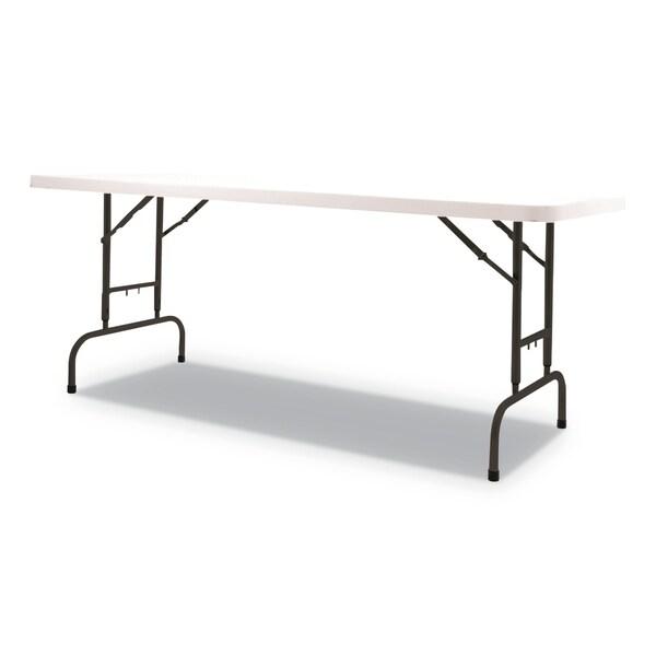 Alera Adjustable Height Plastic Folding Table, White