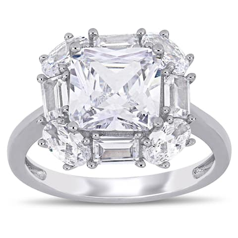 Miadora Sterling Silver Multi-Cut Cubic Zirconia Clustered Halo Engagement Ring