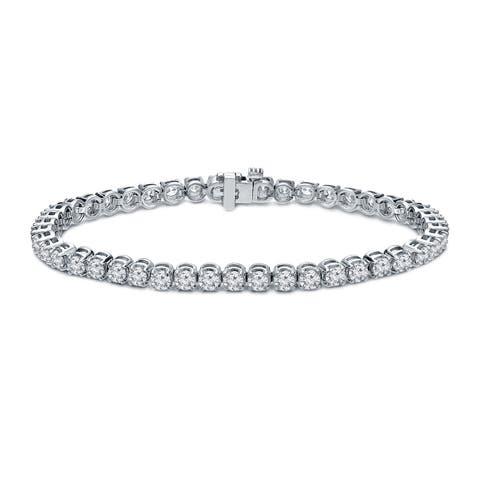 Ethical Sparkle 3ctw Lab Created Round Diamond Tennis Bracelet 14k White Gold - 7 Inch