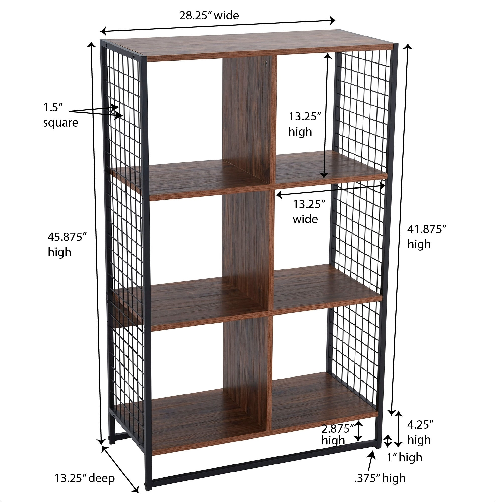 Carbon Loft Lerner 6 Cube Wall Unit With Mesh Side Panels Hickory