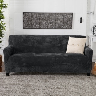 Camellia Collection Velvet Plush Form Fit Stretch Sofa Slipcover
