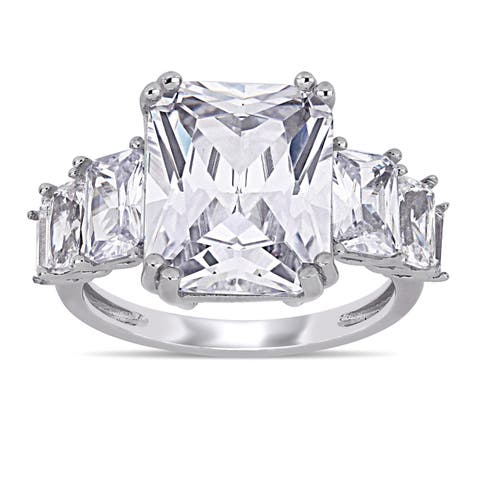 Miadora Sterling Silver Multi-Cut Cubic Zirconia 7-Stone Graduated Engagement Ring