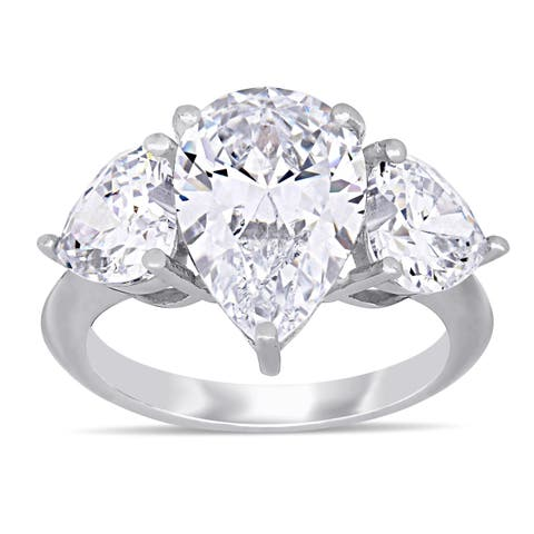 94f125d63 Miadora Sterling Silver Pear and Heart-Cut Cubic Zirconia 3-Stone Engagement  Ring