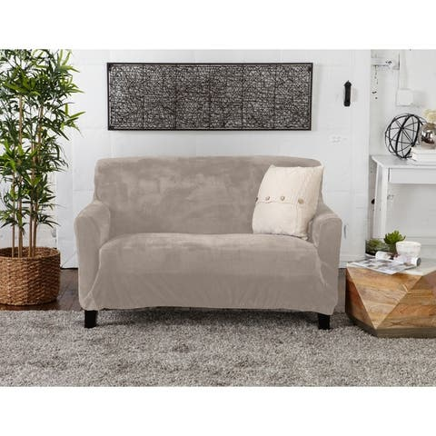 Camellia Collection Velvet Plush Form Fit Stretch Loveseat Slipcover