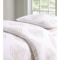 The Curated Nomad Lakeshore Embroidered Ogee 3-piece Quilt Set