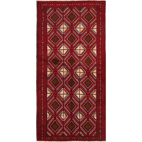 """Balouch Geometric Hand Knotted Wool Persian Rug - 6'8"""" x 3'3"""" Runner"""