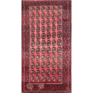 """Vintage Balouch Geometric Hand Knotted Wool Persian Area Rug - 9'5"""" x 5'2"""""""
