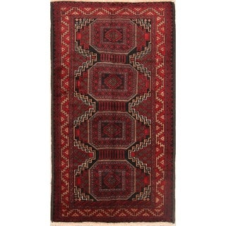 """Vintage Balouch Geometric Hand Knotted Wool Persian Area Rug - 6'6"""" x 3'7"""""""