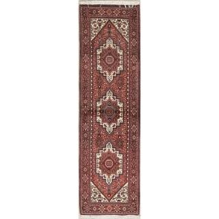 "Bidjar Geometric Hand Knotted Wool Persian Rug - 6'6"" x 1'11"" Runner"