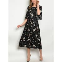 JED Women's Flare Sleeve Floral A-Line Midi Dress