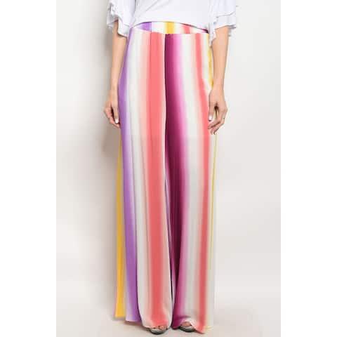 JED Women's Elastic Waist Multi-Color Striped Wide Leg Pants