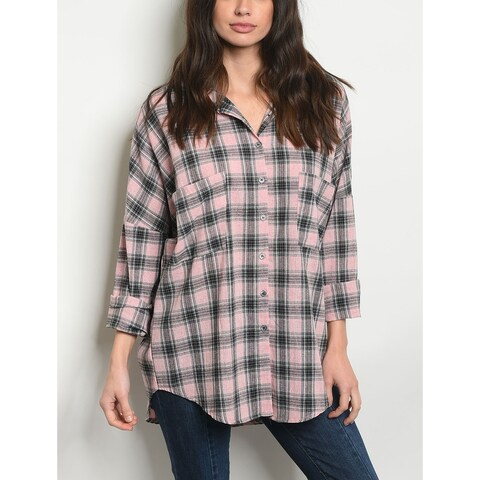 JED Women's Boyfriend Fit Pink Plaid Button Down Shirt