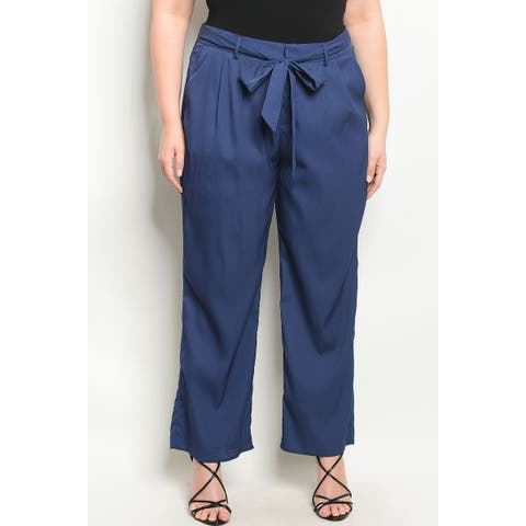 JED Women's Plus Size Pants with Waist Tie