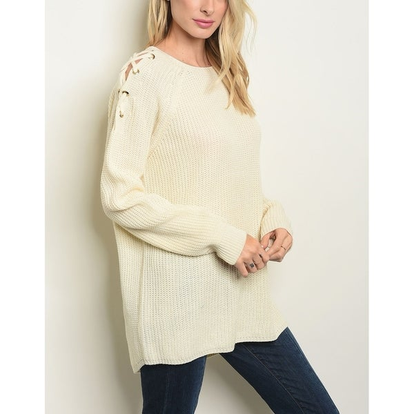 JED Women's Cream Long Sleeve Pull-Over Sweater. Opens flyout.