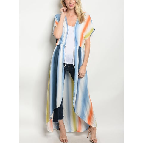 JED Women's Multi-Color Stripes Maxi Kimono Cover-Up