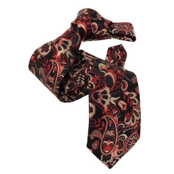 DMITRY Mens 7-Fold Red Patterned Italian Silk Tie