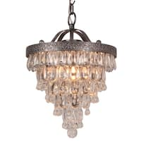 Halen Elton Home 2-light Vintage Cone Shape glass crystal drop antique silver round Chandelier pendant