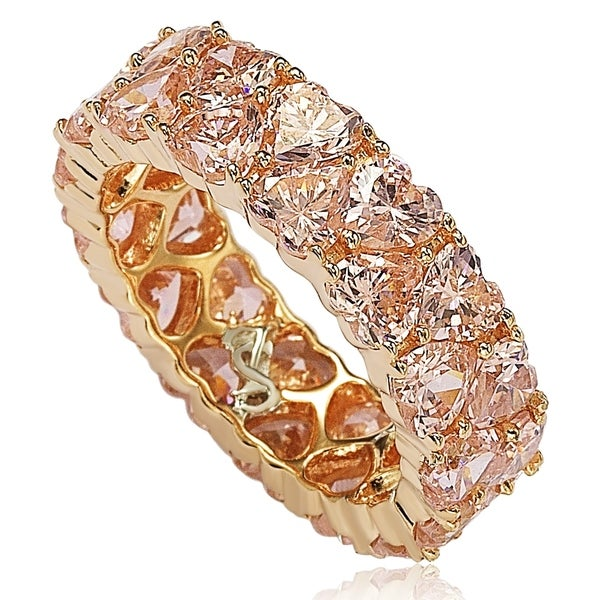 Suzy L. Rose Sterling Silver Heart Shape Pink Cubic Zirconia Eternity Band. Opens flyout.