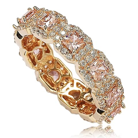 Suzy Levian Rose Sterling Silver Cubic Zirconia Pink Princess Cut Eternity Band