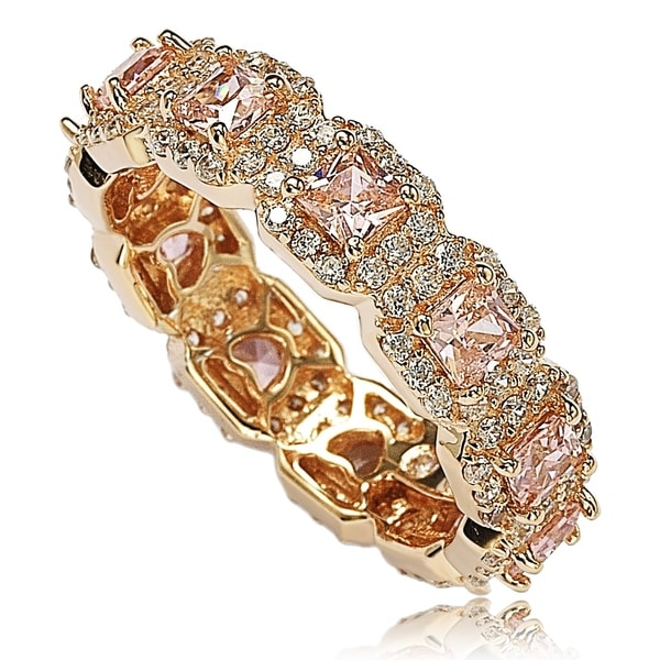 Suzy L. Rose Sterling Silver Cubic Zirconia Pink Princess Cut Eternity Band. Opens flyout.