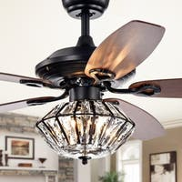 Makore Matte Black 52-inch Lighted Ceiling Fan with Crystal Shade (includes Remote and Light Kit)
