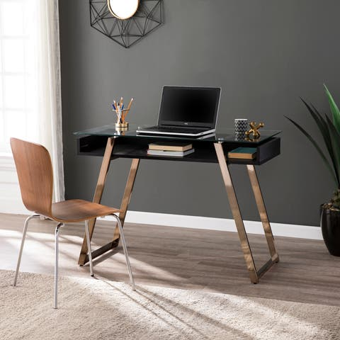 Silver Orchid Madsen Glass-Top Writing Desk