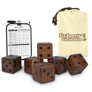 "GoSports Giant 3.5"" Dark Stain Wooden Playing Dice Set with Bonus Rollzee and Farkle Scoreboard and Canvas Carrying Bag"