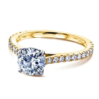 Annello By Kobelli 14k Gold 1 Carat Moissanite And 1 3ct TDW Diamond Peg Cathedral Engagement Ring FG VS GH I