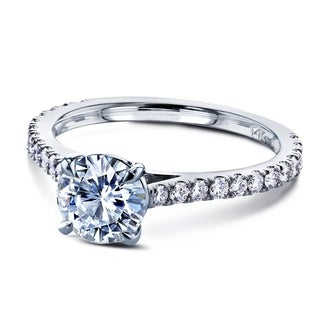 Annello By Kobelli 14k Gold 1 Carat Forever One Moissanite And 1 3ct TDW Diamond Peg Cathedral Engagement Ring DEF VS GH I