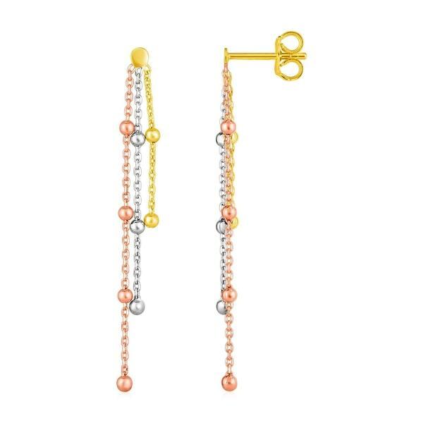 14k Tri Color Gold Post Earrings