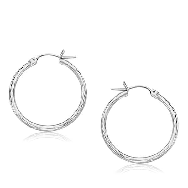 14k White Gold Diamond Cut Hoop Earrings 25mm Diameter