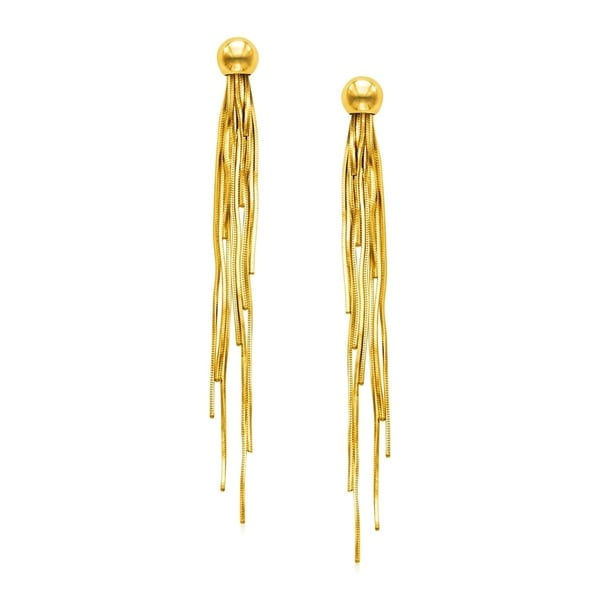 f478da2346db4 14k Yellow Gold Post Earrings with Polished Dangles
