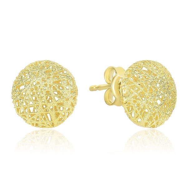 dfd42e638 Shop 14k Yellow Gold Mesh Motif Textured Puffed Round Earrings - On Sale -  Free Shipping Today - Overstock - 26892464