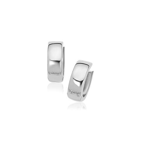 14k White Gold Snuggable Hoop Earrings