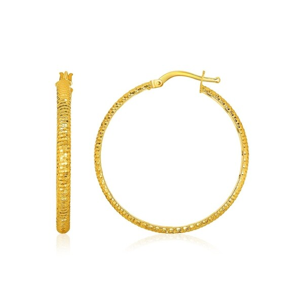 14k Yellow Gold Diamond Cut Hoop Earrings On Free Shipping Today 26892553